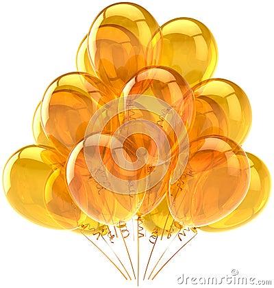 Beautiful ballons yellow translucent