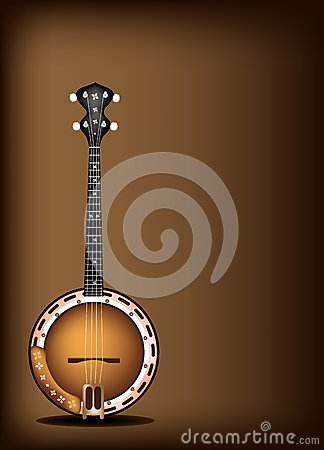A Beautiful Banjo on Dark Brown Background