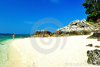 Beautiful beach with crystal clear blue waters