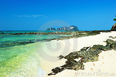 Beautiful beach with crystal clear blue waters of