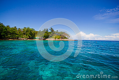Beautiful beach and green water