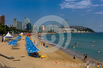 Beautiful Beach of Haeundae, Busan, Korea Editorial Photo
