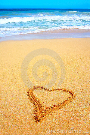 Beautiful Beach in Hawaii with Heart Scratched into the Sand