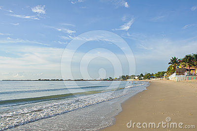Beautiful beach and resorts in the morning