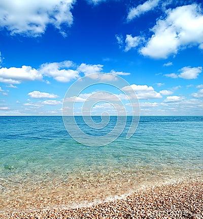 Beautiful Beach and Waves of Warm Sea