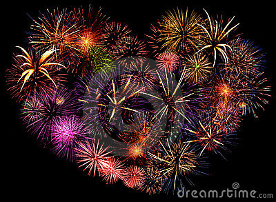 Beautiful big firework heart
