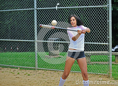 Beautiful biracial young female softball player