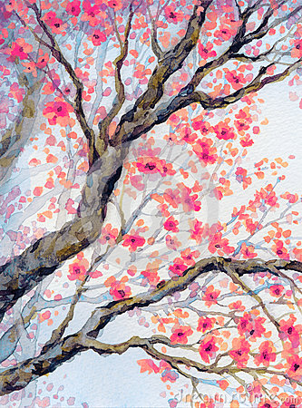 Free Beautiful Bird On Flowering Branch. Watercolor Painting Stock Photo - 75565630