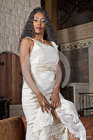 Beautiful Black Bride in Wedding Gown