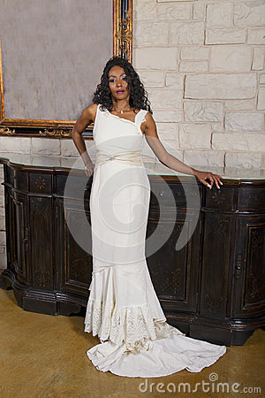 Beautiful Black Adult Bride in Wedding Gown