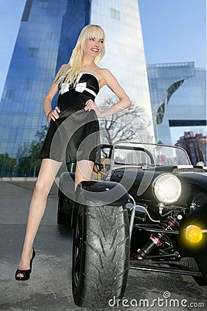 Beautiful black sport car city buildings young sex