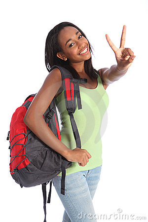Free Beautiful Black Teenager School Girl Victory Sign Stock Images - 20869564
