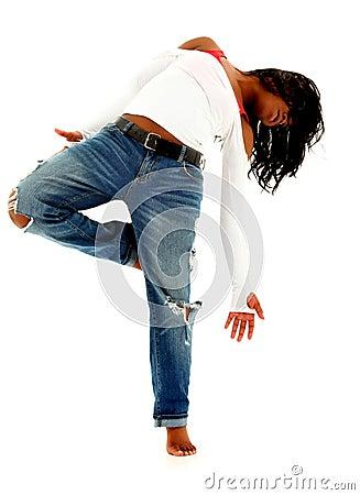 Beautiful Black Urban Dancer Woman Over White