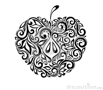 Beautiful black and white apple decorated with flo