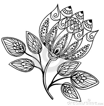 Beautiful Black And White Flower, Hand Drawing Royalty Free Stock ...