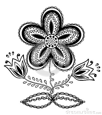 Beautiful Black-and-white Flower, Hand Drawing Stock Image - Image ...