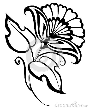 Beautiful Black And White Flower Hand Drawing Floral Design Element In Retro Style Royalty