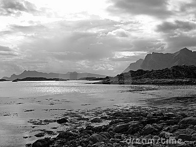 Beautiful black white landscape Lofoten Islands