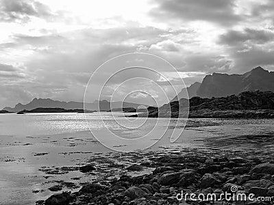 Beautiful black white landscape Lofoten Islands