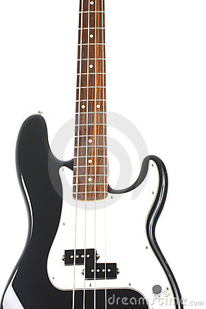 Beautiful black and white precision bass guitar