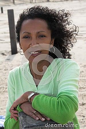 Beautiful black woman on the beach