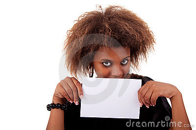 Beautiful black woman person with business card