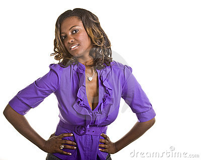 Beautiful Black Woman in Purple Both Hands on hips