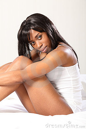 Free Beautiful Black Woman Wearing Underwear In Bed Stock Images - 19038404