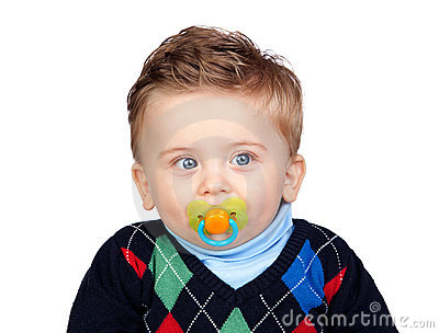 Beautiful blond baby with pacifier