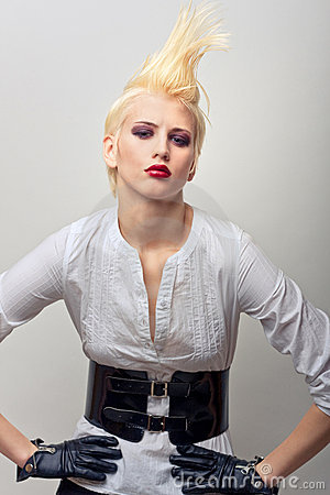 Beautiful blond fashion girl with red lips