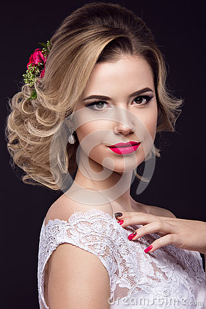 Free Beautiful Blond Girl  In Image Of The Bride With Purple Flowers On Her Head. Beauty Face Royalty Free Stock Image - 65598576