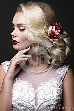 Free Beautiful Blond Girl In Image Of The Bride With Purple Flowers On Her Head. Beauty Face. Stock Images - 77960754