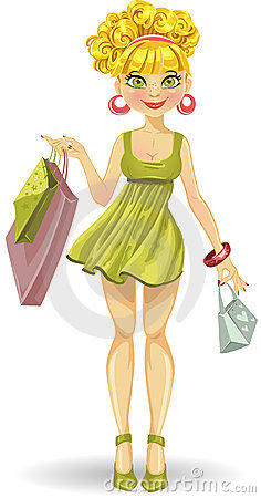 Beautiful blond girl with shopping bags in green