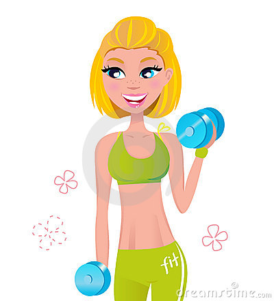 Beautiful blond hair woman exercising with weights