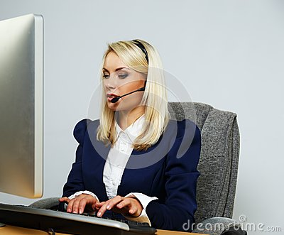 Beautiful blond help desk office woman