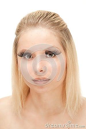 beautiful blond with lengthen eyelashes