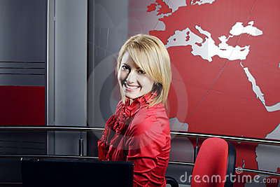 Beautiful blond TV journalist and manager Editorial Photo