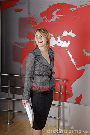 Beautiful blond TV journalist smiling Editorial Photography