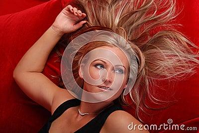 Beautiful blond woman.