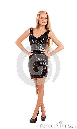 Beautiful blond woman in black shiny dress