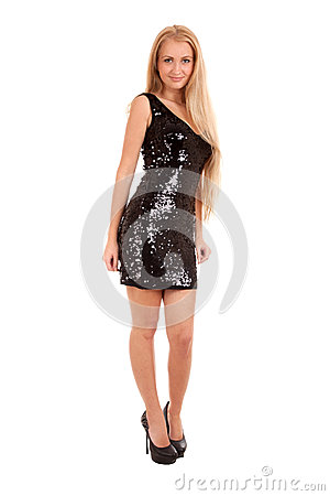 Beautiful blond woman in black shiny dress