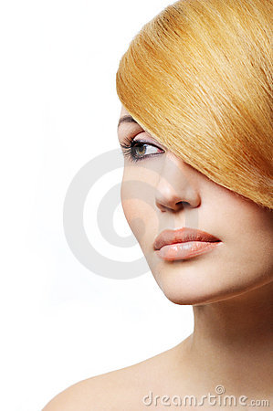 Beautiful blond woman - creativity hairstyle