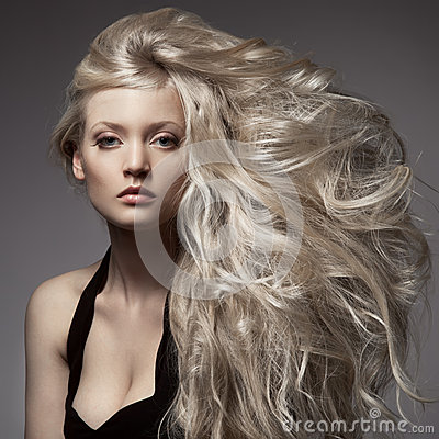 Free Beautiful Blond Woman. Curly Long Hair Royalty Free Stock Photos - 32253398