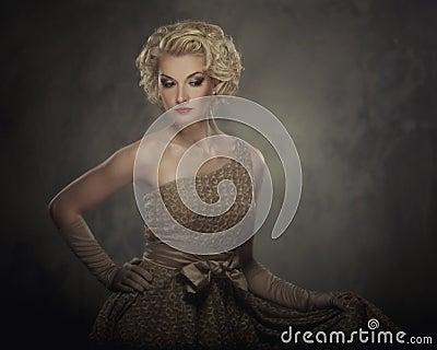 Beautiful blond woman in a dress