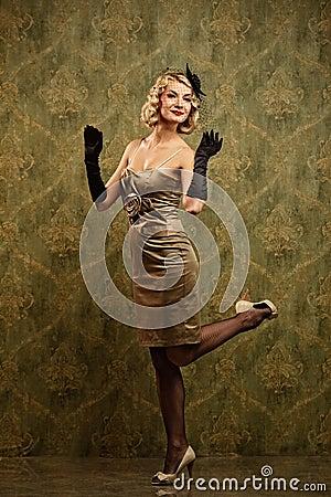 Beautiful blond woman retro portrait.