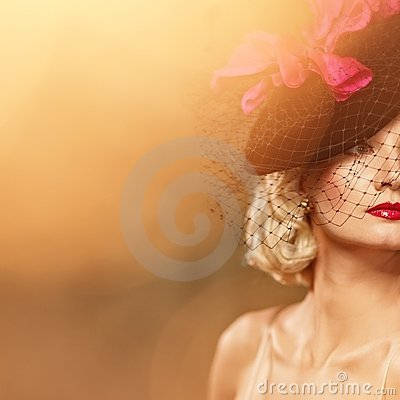 Beautiful blond woman retro portrait.