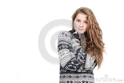 Beautiful blond woman wearing sweater isolated