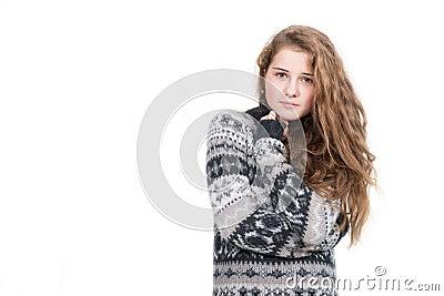 Beautiful blond woman wearing sweater isolated