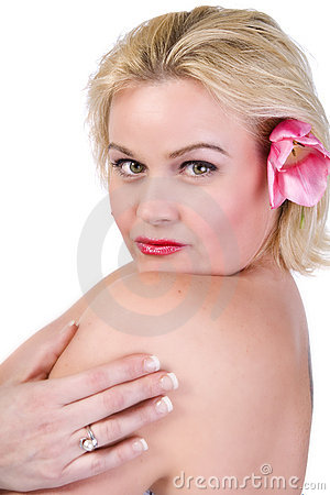 Free Beautiful Blond Woman With A Flower In Her Hair Stock Image - 11380211