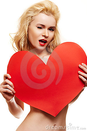 Beautiful blonde with big red heart
